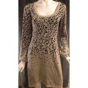 XOXO Gold and Black Animal Print Sweater Dress